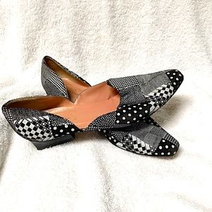 Town Shoes Leather Black & White Shoe